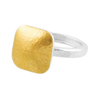 Gurhan Sterling Silver & 24K Overlay Large Square Hammered Ring