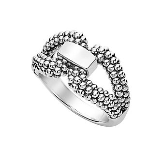 lagos sterling silver caviar derby buckle ring