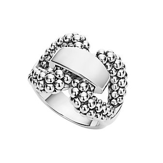 lagos sterling silver wide caviar derby buckle ring