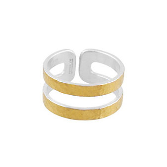gurhan yellow tone sterling silver layered hammered double split row cuff ring