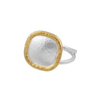gurhan yellow tone sterling silver layered cushion shape spell ring with split shank