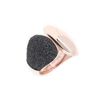 pesavento rose tone sterling silver black dust cuff ring