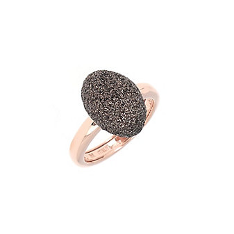 pesavento rose tone sterling silver dark brown dust oval ring