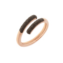 pesavento_rose_tone_sterling_silver_incontri_dark_brown_dust_sparkle_wrap_ring