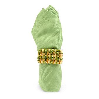 Juliska Velvet Woven Plaid Napkin Ring Pistachio Multi