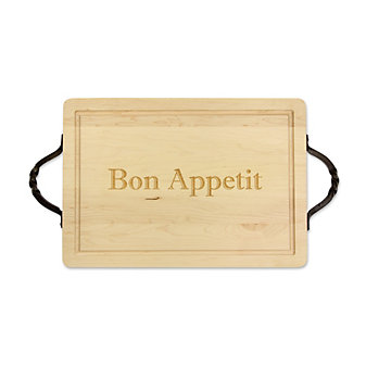 "Maple Leaf at Home Rectangle Cutting Board, ""Bon Appetit"""