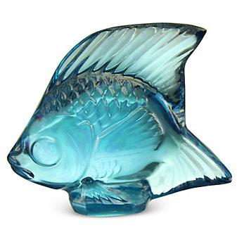 "Lalique Sculpture Poisson Lustre Turquoise Fish, 1.77"" Height"