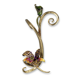 Jay Strongwater Flora Mirabelle Orchid Single Candlestick