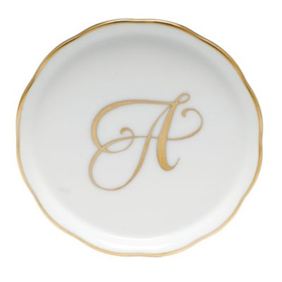 """Herend Monogrammed """"A"""" Coaster"""