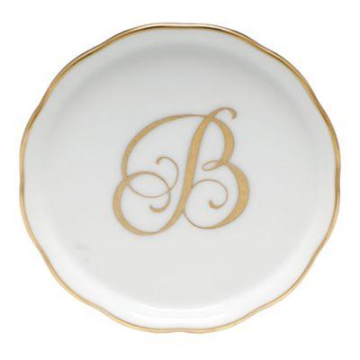 """Herend Monogrammed """"B"""" Coaster"""