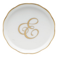 "Herend_Monogrammed_""E""_Coaster"