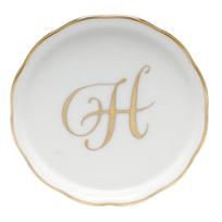 "Herend_Monogrammed_""H""_Coaster"