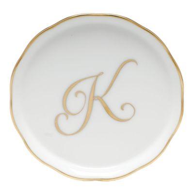 "Herend Monogrammed ""K"" Coaster"