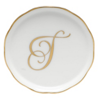 "Herend_Monogrammed_""T""_Coaster"