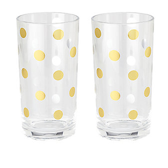 Kate Spade Raise A Glass Gold Dot Highball Glasses, Set of 2
