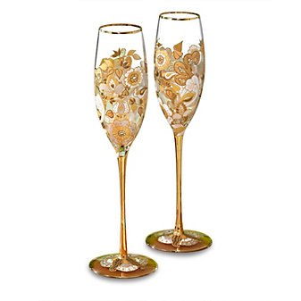 Jay Strongwater Floral Vine Champagne Glasses, Set of 2