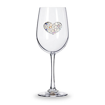 The Queens Jewels Multi Stone Heart Stemmed Jeweled Wine Glass