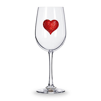 The Queens Jewels Red Heart Stemmed Jeweled Wine Glass