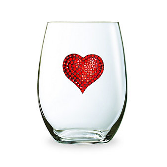 The Queens Jewels Red Heart Stemless Jeweled Wine Glass