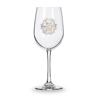 The Queens Jewels Snowflake Stemmed Jeweled Wine Glass