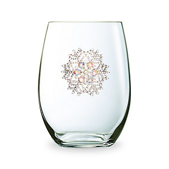 The Queens Jewels Snowflake Stemless Jeweled Wine Glass