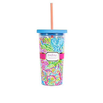 LILLY PULITZER TUMBLER WITH STRAW - LOVERS CORAL
