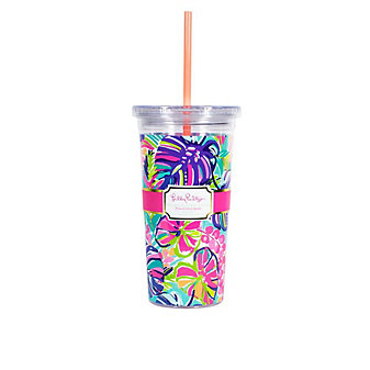 LILLY PULITZER TUMBLER WITH STRAW - EXOTIC GARDEN