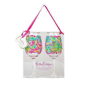 Lilly Pulitzer Acrylic Wine Glasses - Spot Ya