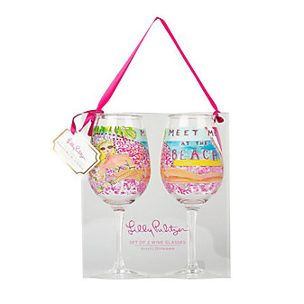 Lilly Pulitzer Acrylic Wine Glasses - Meet Me At the Beach
