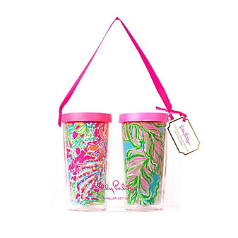 Lilly Pulitzer Insulated Tumbler with Lid Set - Spot Ya / In the Bungalows