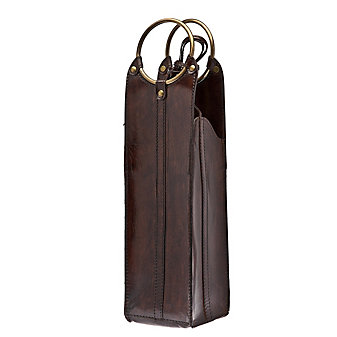 ricci leather hoop wine holder brown