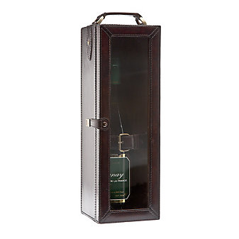 ricci leather wine bottle case brown