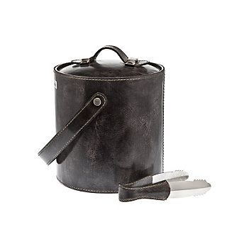 ricci leather ice bucket with tongs grey