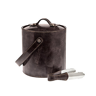 ricci leather ice bucket with tongs brown