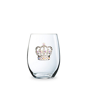 the queen jewels corwn stemless jeweled wine glass