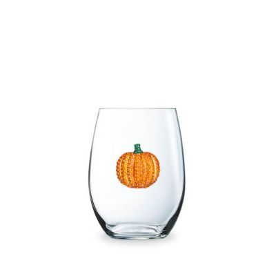 the queen's jewels pumpkin jeweled stemless wine glass
