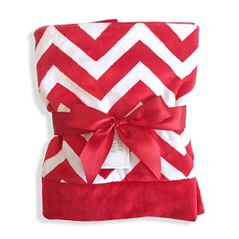 Swankie Blankie Red Chevron Receiving Blanket