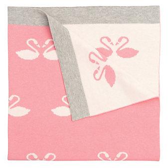 Elegant Baby Pink Swan Jacquard Knit Blanket