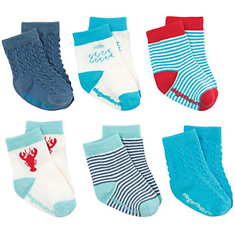 ELEGANT BABY 6PK SOCKS NAUTICAL