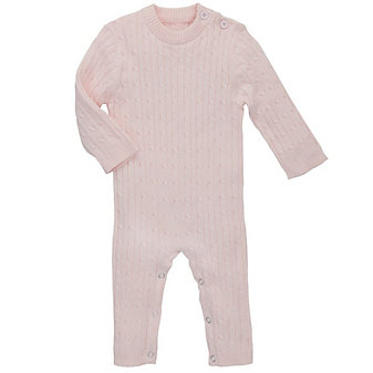 ELEGANT BABY CABLE JUMPSUIT 3-6 MONTH - PINK