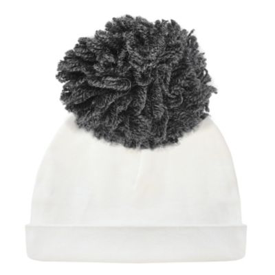 oh baby! charcoal yarn pom 2pc hat cream small