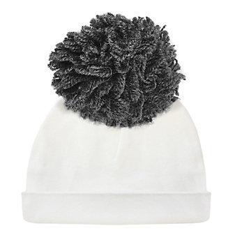 oh baby! charcoal pom yarn 2pc hat cream medium