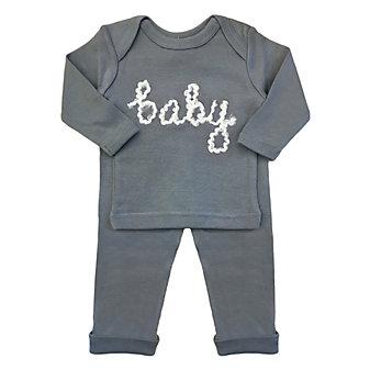 oh baby! two piece set - baby in yarn - cream/asphalt - 0-3mos