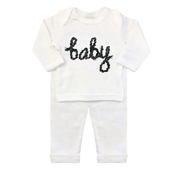 oh baby! two piece set - baby in yarn - charcoal/cream - 3-6mos