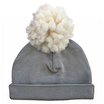 oh baby! cream yarn pom 2pc hat asphalt small