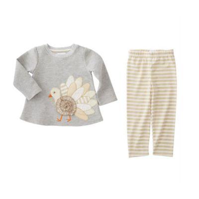 mud pie gray turkey leggings & tunic set