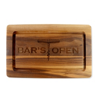 "Maple_Leaf_at_Home_Rectangle_Cutting_Board,_""Bar's_Open"""