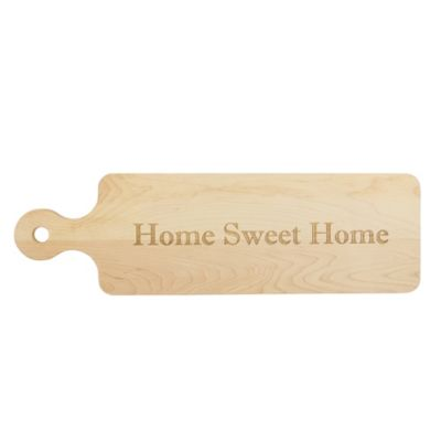 maple leaf at home handled home sweet home bread board