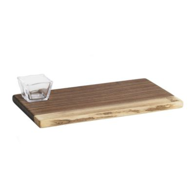 andrew pearce black walnut board with simon pearce glass bowl
