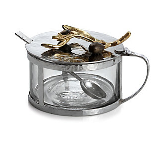 Michael Aram Olive Branch Condiment Container with Spoon